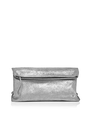 Halston Heritage Tina Large Metallic Leather Clutch