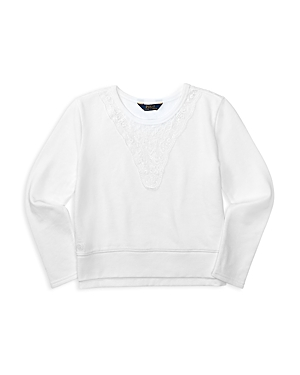 Ralph Lauren Childrenswear Girls' Lace Trimmed French Terry Pullover - Sizes S-xl