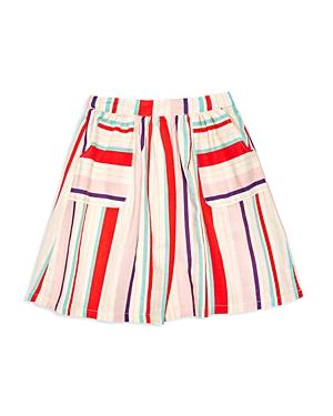 Margherita Kids Girls' Striped Linen Blend Skirt - Little Kid