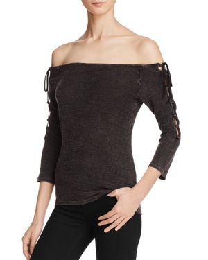 Project Social T Maercy Off-the-Shoulder Lace Up Tee