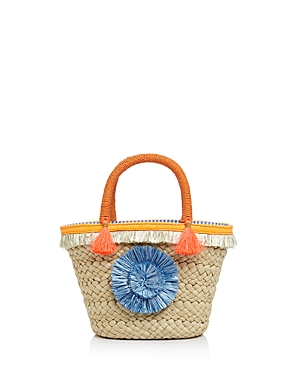 Milly Pom-Pom Small Straw Tote