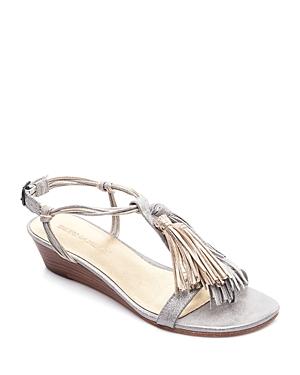 Bernardo Court Metallic Tassel Demi Wedge Sandals