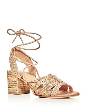 Pour La Victoire Amada Raffia Lace Up Block Heel Sandals