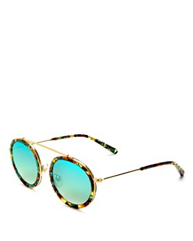 Krewe - Women's Conti 24K Mirrored Round Sunglasses, 46mm