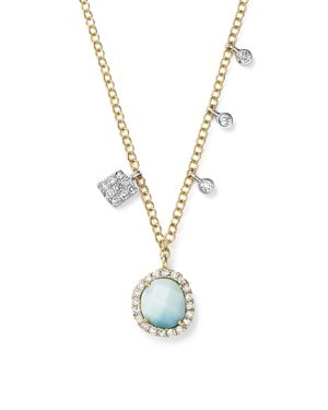 Meira T 14K White and Yellow Gold Larimar Necklace with Diamonds, 19