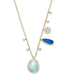 Meira T - 14K White and Yellow Gold Larimar, Opal and Diamond Necklace, 19""