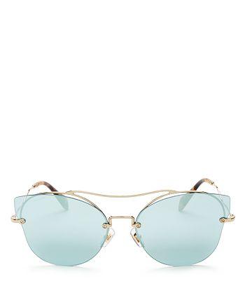 Miu Miu - Women's Mirrored Brow Bar Cat Eye Sunglasses, 66mm