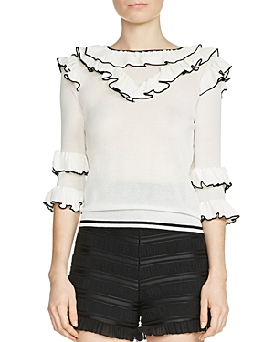 Maje Moreno Tiered-Ruffle Sweater