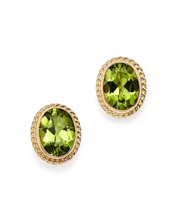 Bloomingdale's - Peridot Oval Bezel Stud Earrings in 14K Yellow Gold - 100% Exclusive