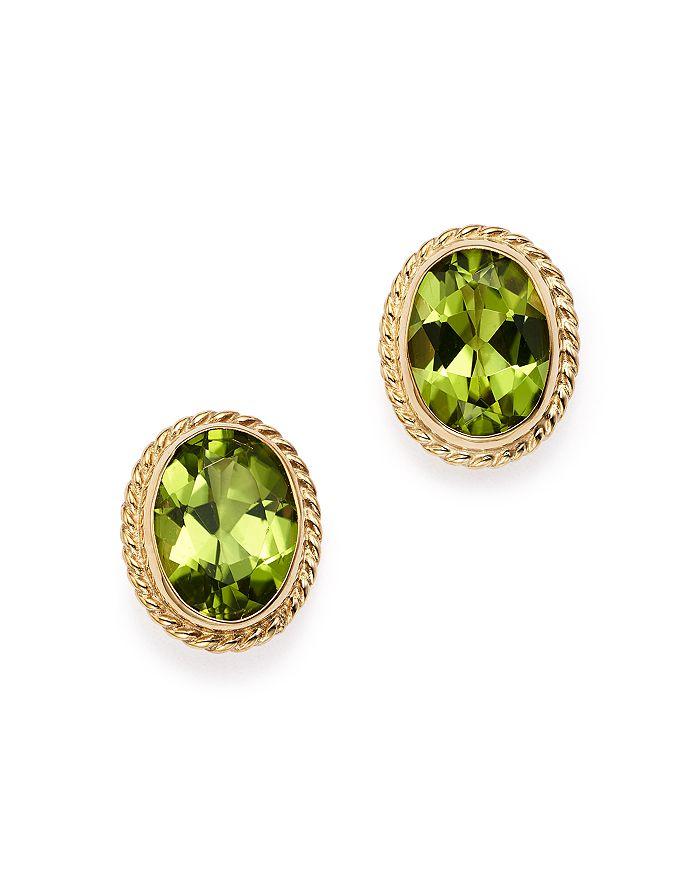 Bloomingdale's - Peridot Oval Bezel Stud Earrings in 14K Yellow Gold - 100% Exclusive
