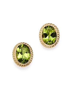 Peridot Oval Bezel Stud Earrings in 14K Yellow Gold