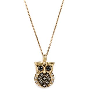 White and Brown Diamond Owl Pendant Necklace in 14K Yellow Gold, 16 - 100% Exclusive