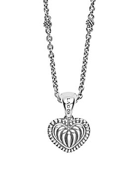 LAGOS - Sterling Silver Signature Caviar Fluted Heart Pendant Chain Necklace, 16""