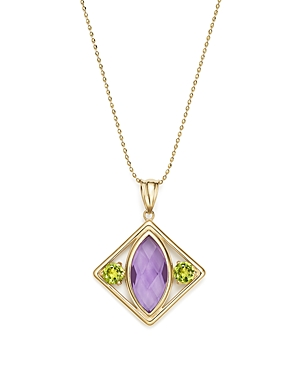 Amethyst and Peridot Pendant Necklace in 14K Yellow Gold, 17 - 100% Exclusive