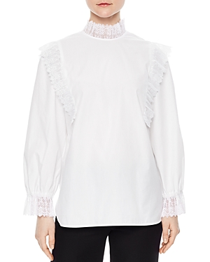 Sandro Andina Lace-Trimmed Top
