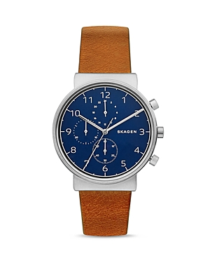 Skagen Ancher Chronograph Leather Strap Watch, 40mm