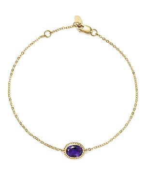 Amethyst Oval Bracelet in 14K Yellow Gold