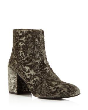 Stuart Weitzman Bacari Velvet Block Heel Booties