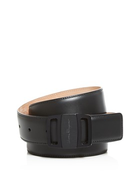 Salvatore Ferragamo - Adjustable Calfskin Belt with Graphite Vara Buckle
