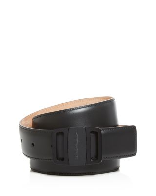 Adjustable Calfskin Belt With Graphite Vara Buckle by Salvatore Ferragamo