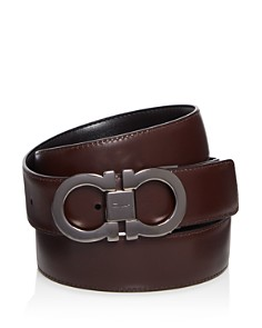 Salvatore Ferragamo - Smooth Reversible Calf Belt with Tonal Metallic Double Gancini Buckle