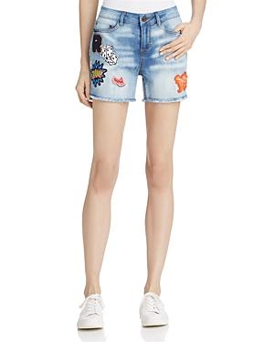 Banjara Patch Denim Shorts in Light Blue