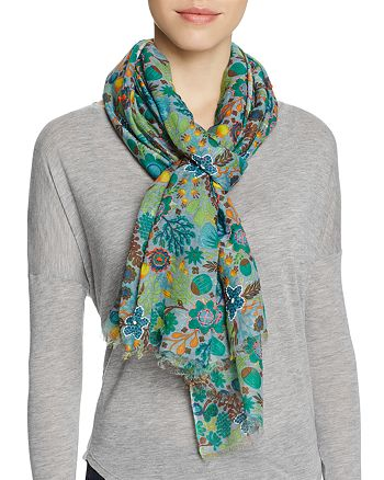 Altea - Embroidered Floral Print Scarf