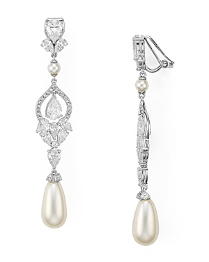 Nadri Pave Embellished Clip-On Drop Earrings