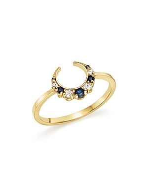 Iconery x Stone Fox Bride 14K Yellow Gold Crescent Sapphire and Diamond Ring