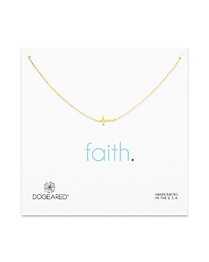 Dogeared Gold Whisper Cross Necklace, 16