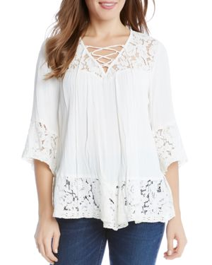 Karen Kane Lace-Up Peasant Top