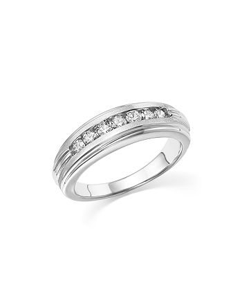 Bloomingdale's - Diamond Men's Band in Matte and Polished 14K White Gold, .50 ct. t.w. - 100% Exclusive