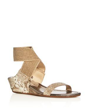 Donald J Pliner Eeva Metallic Snake-Embossed Ankle Strap Wedge Sandals