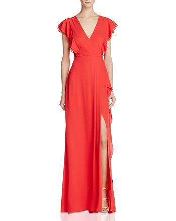 BCBGMAXAZRIA - Flutter Sleeve Gown - 100% Exclusive