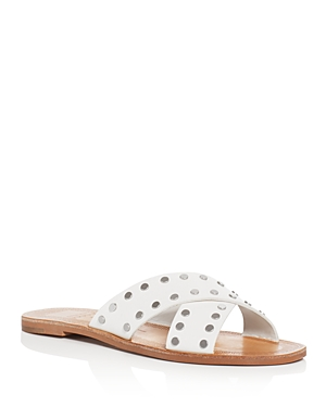 Dolce Vita Casta Leather Studded Slide Sandals