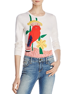 Alice + Olivia Connie Bird Embellished Crewneck Sweater
