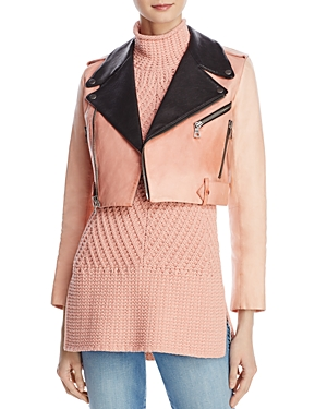 Alice + Olivia Cody Painted Leather Cropped Moto Jacket