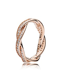 PANDORA - 14K Gold, Sterling Silver & Cubic Zirconia Twist of Fate Ring