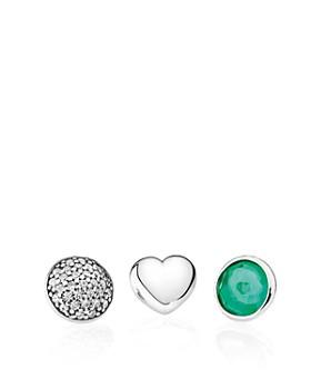 PANDORA - Charms - Sterling Silver, Royal Green Crystal & Cubic Zirconia May Petites, Set of 3