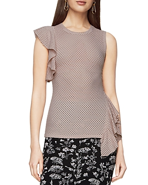 Bcbgmaxazria Rowe Perforated Ruffle Top