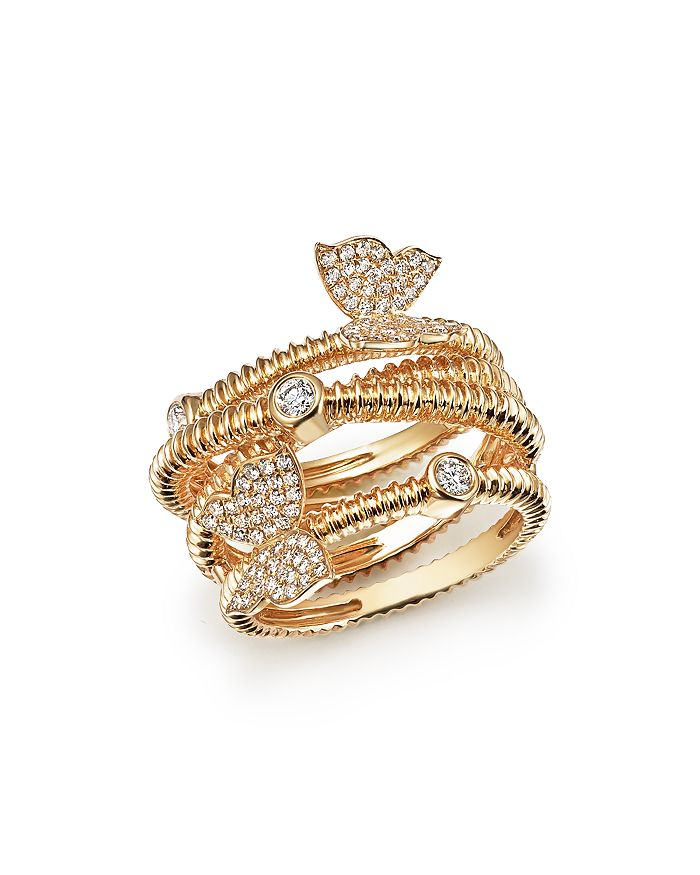 Bloomingdale's - Diamond Beaded Ring with Butterflies in 14K Yellow Gold, .50 ct. t.w. - 100% Exclusive