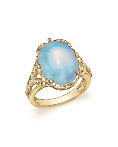 Bloomingdale's - Oval Opal Statement Ring with Diamond and Sapphire in 14K Yellow Gold - 100% Exclusive