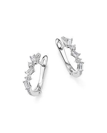 KC Designs - 14K White Gold Diamond Mosaic Hoop Earrings