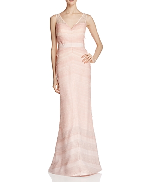 Adrianna Papell V-Neck Layered Ombre Gown