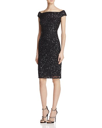 $Adrianna Papell Off-the-Shoulder Beaded Dress - Bloomingdale's