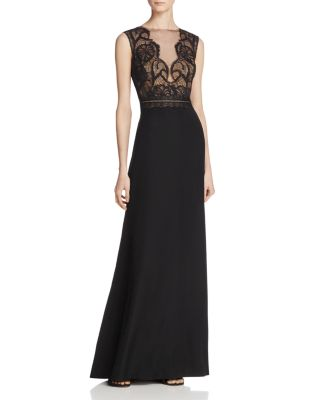 $Tadashi Shoji Illusion Lace-Bodice Gown - Bloomingdale's