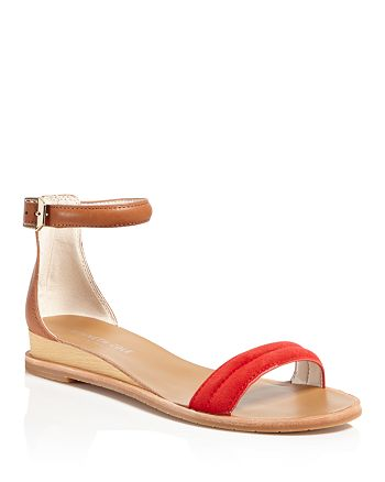 Kenneth Cole - Jenna Leather and Suede Ankle Strap Sandals