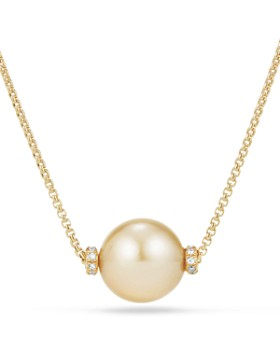 David Yurman - Solari Single Station Necklace in 18K Gold with Diamonds and South Sea Yellow Cultured Pearl
