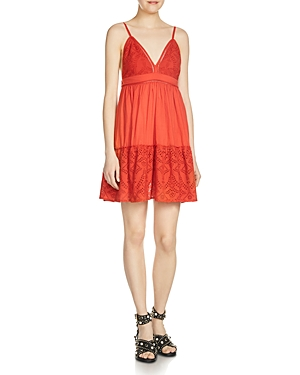 Maje Rendi Eyelet Mini Dress