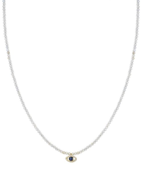 Meira T - 14K Yellow Gold Sapphire, Diamond and Chalcedony Beaded Evil Eye Choker Necklace, 12""